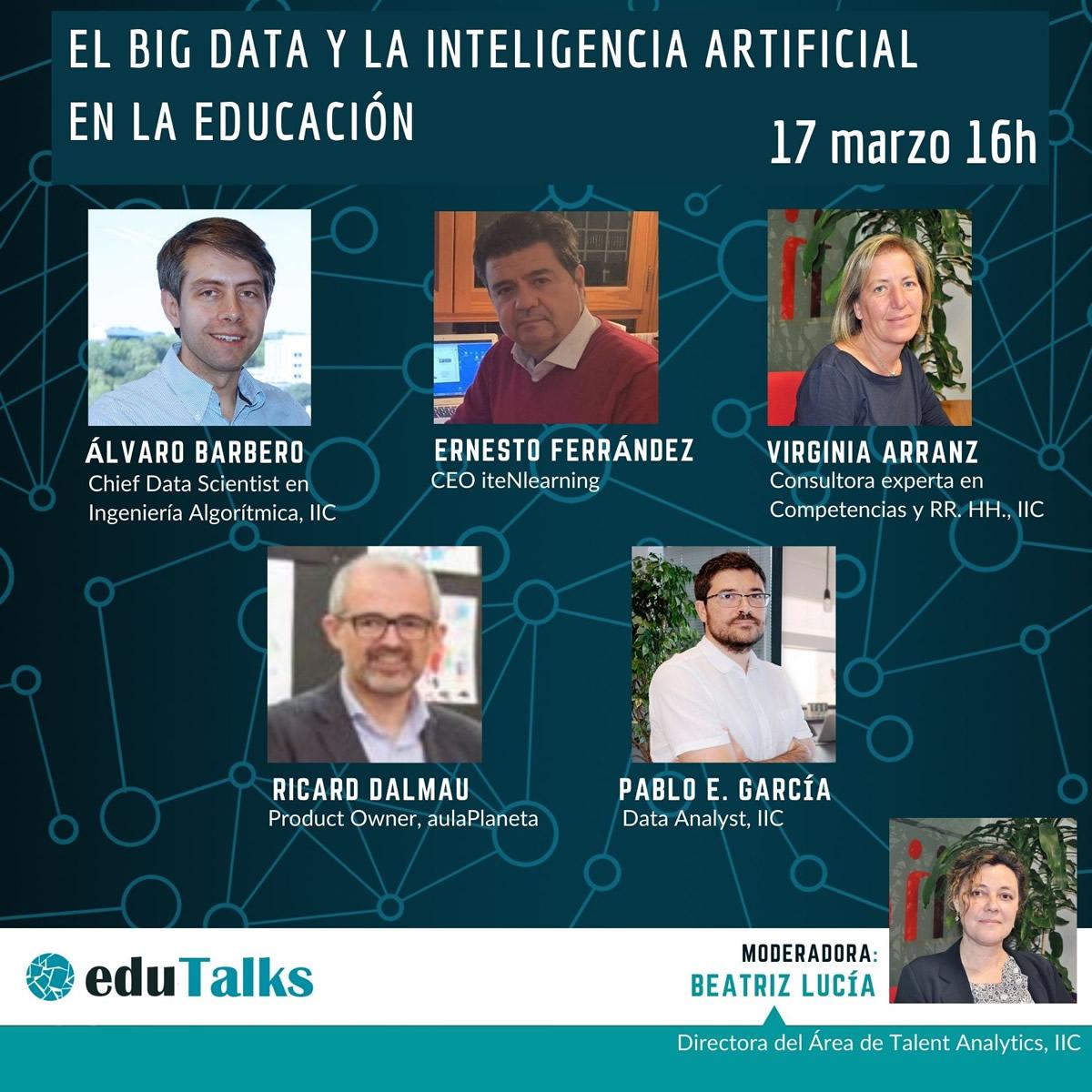 EduTalk: El Big Data y la Inteligencia Artificial en la Educación   Imagen: Edutech Cluster